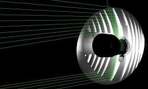 配光設計後の光線追跡図